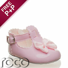 CHEAP BABY GIRLS PINK BOW SHOES CHRISTENING BRIDESMAID WEDDING 0 - 18 MONTHS