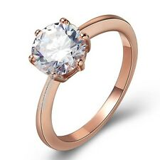 2 CT crystal cz Engagement wedding bridal ring 18K rose GOLD GP R292