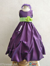 PUPRLE APPLE GREEN BRIDAL FLOWER GIRL DRESS SIZE 2T 2 3 4 5 6X 6 7 8 10 12 14