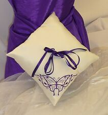 BUTTERFLY EMBROIDERED SATIN RING BEARER PILLOW / CUSHION WEDDING BRIDAL