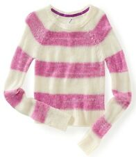 NEW Aeropostale Womens Med. Fantasy Pink Raglan Striped Crew Neck Sweater $49.50