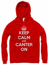 KEEP CALM AND CANTER ON HORSE RIDING LADIES MEN UNISEX HOODY SWEATSHIRT GIFT