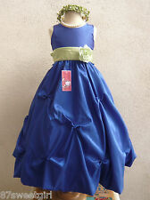 ROYAL BLUE SAGE GREEN PARTY FLOWER GIRL DRESS SIZE 2T 2 3 4 5 6X 6 7 8 10 12 14
