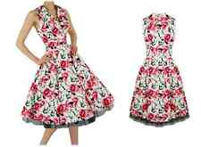 H & R FLORAL LILY COCKTAIL DRESS 50's pinup Vtg Rockabilly RETRO PARTY 5006
