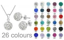 26 Colours Shamballa Premium Crystal Disco ball Silver Necklace & stud-earring