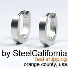 Mens earrings silver huggie hoops, slim steel earrings, size XS, M