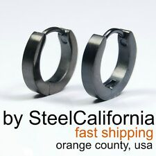 "Mens Earrings Black Huggie Hoops ""Modern Slim"" (Size XS, M)"