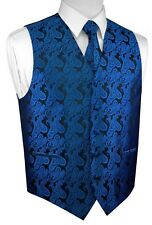 ITALIAN DESIGN 3 PIECES ROYAL BLUE PAISLEY TUXEDO VEST, TIE & HANKY SET. XS-4XL
