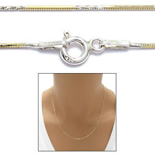925 Sterling Silver Gold 2-Tone Twist Snake Chain Necklace 0.8mm