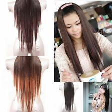 """Women's Long Straight Clip In Hair Extension Hairpiece Wig Hair Cap 3Colors 24""""L"""