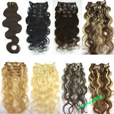 "Any color CURLY CLIP IN 100% HUMAN HAIR EXTENSIONS BODY WAVY 18""20""22""70g-100g"