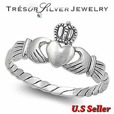 womens irish claddagh heart .925 sterling silver band ring size 4 5 6 7 8 9 10