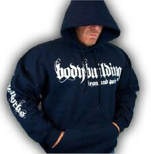 BODYBUILDING CLOTHING HOODIE WORKOUT  TOP NAVY  IRON & PAIN LOGO