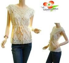 Gothic Vintage Beige Sheer Lace Crochet Embroidered Victorian Blouse Shirt Top