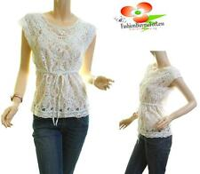 Vintage Ivory Gothic Sheer Lace Crochet Embroidered Victorian Blouse Shirt Top