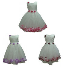 Flower Dress Girl Wedding Party Bridesmaid Pageant Pink Wine Lilac New Age 1 - 5