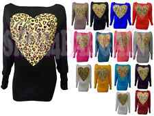 New Ladies Off Shoulder Long Sleeve Batwing LOVE Leopard Heart Print Womens Top
