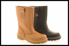 Mens Size 7 - 12 Leather Steel Toe Cap Safety GROUNDWORK Rigger Boots NEW