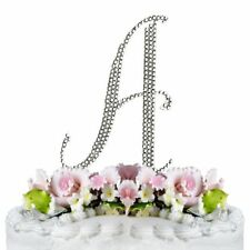 Rhinestone Silver Crystal Covered Monogram Letter Initial Wedding Cake Topper