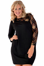 New Womens Black Lace Arm Ponte Evening Party Dress Nouvelle Plus Size