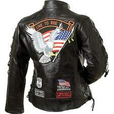 Ladies' Rock Design Black Genuine Buffalo Leather Motorcycle Jacket Small - 5XL