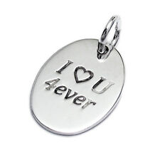 Sterling Silver Personalized *I Love U 4ever* Oval Pendant - Free Engraving