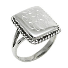 Sterling Silver Engraved Fancy Rope Design Rectangle Face Ring