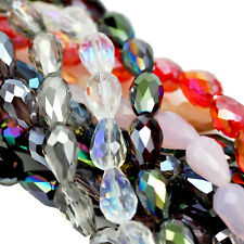 Teardrop Briolette Faceted Cut Glass Crystal Beads for Jewellery Making Craft
