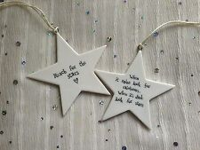 Vintage Porcelain Hanging Star Plaque Sign Gift Tag Keepsake East of India