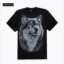leisure Casual Rock Style MEN Short Sleeve cotton T Shirts,3D Wolf patterns,Cool
