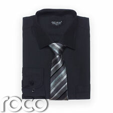 Boys Black Shirt Tie set for Formal Prom Pageboy Wedding Suits