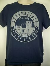 NEW Aeropostale Men's Short sleeve NAVY BLUE with bridge graphic tshirt tee