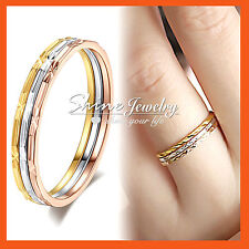 18K WHITE YELLOW ROSE PLAIN GOLD GF R150 WEDDING LADY SOLID RUSSIAN RINGS SETS