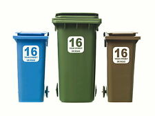 3 x WHEELIE BIN NUMBERS CUSTOM HOUSE / ROAD / STREET NAME VINYL GRAPHIC STICKERS