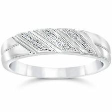 1/5CT Mens REAL Diamond Wedding Ring 10K White Gold Mans Pave Band