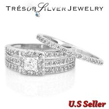women sterling silver princess cut engagement wedding ring set size 5 6 7 8 9 10