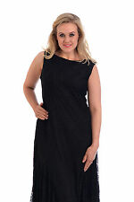 Womens Dress Ladies Plus Size Lace Party Sleeveless Draped hem Evening Nouvelle