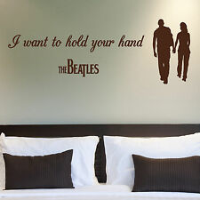 THE BEATLES, LARGE WALL STICKER, Hold Your Hand, Love, Music, WallArt, SS377