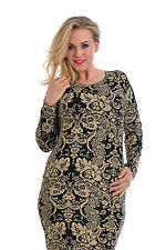 New Womens Dress Plus Size Ladies Bodycon Midi Floral Mid Stretch Nouvelle 14-28