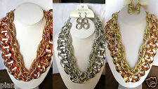 """Chunky Metal Chain Necklace Matching Earrings 1.5"""" Links 17-20"""" Gold,Silver,Rose"""