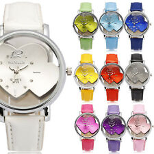 Elegant WOMEN Quartz Wrist Watch Double Heart Small Hands Dial Multicolor PU