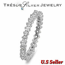 womens clear cz sterling silver eternity wedding band ring size 4 5 6 7 8 9 10