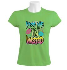 Kiss me I'm wasted Women T-Shirt drunk beer drinking 420 dope smoking Weed Humor