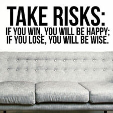 RISKS, LARGE WALL STICKER, Happy, Wise, Win, Decal, WallArt, SS447