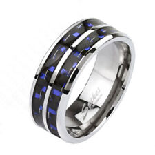 Solid Ti Titanium Men's Dual Blue Carbon Fiber Inlaid Band Ring Size 9-13