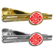 Firefighter Firemen Maltese Cross - Red Round Tie Bar Clip Clasp Tack