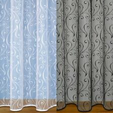 SCROLL DESIGN NET CURTAIN WITH ROD SLOT & WEIGHTED BASE