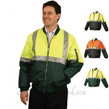 Mens Hi Vis Waterproof Bomber Flying Jacket 3M Tapes Safety Workwear Work New