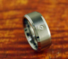 Tungsten Carbide Ring Plain/Wedding Band With CZ Stone 8MM Gift Idea Engagement