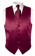 Biagio Men's SILK Dress Vest & NeckTie Solid BURGUNDY Color Neck Tie Set